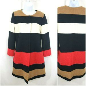 Chicos Color Block Boiled Wool Coat